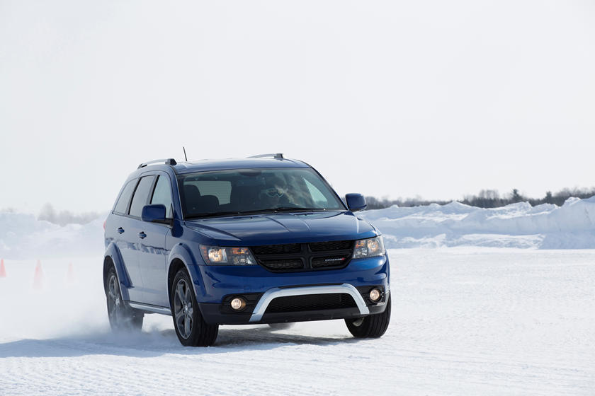 blue 2019 dodge journey handling in snow