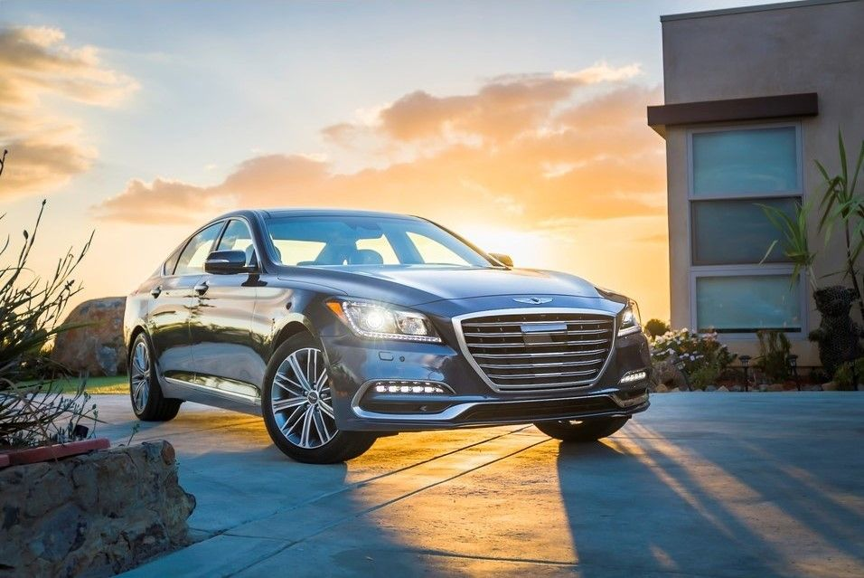 2020 Genesis G80 Angular Front View, Blue, Metallic