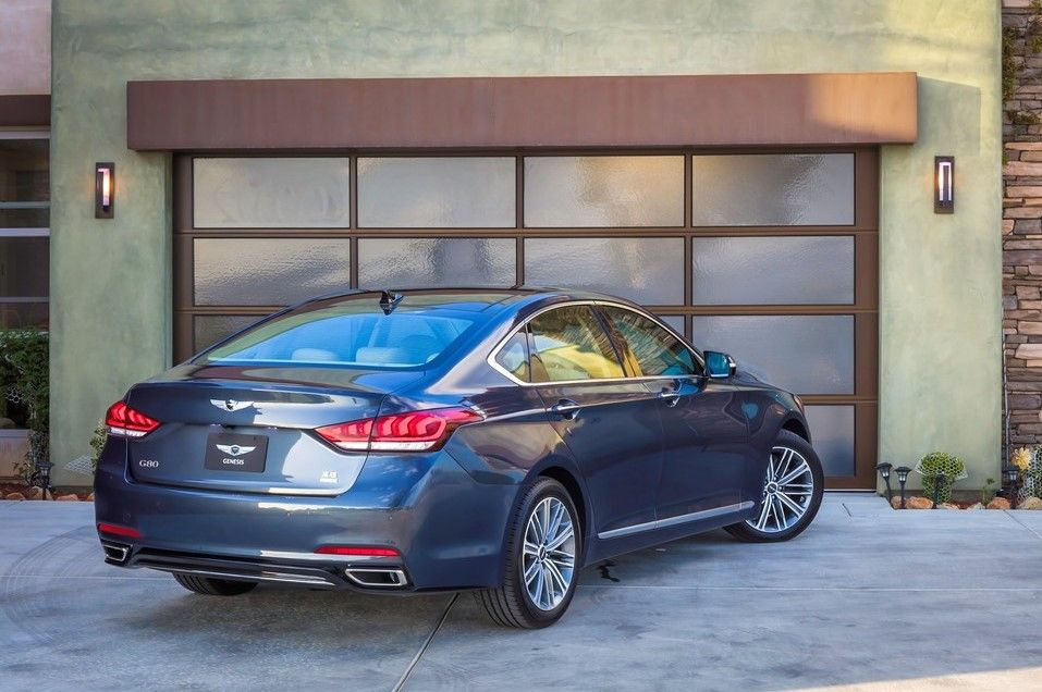 2020 Genesis G80 Angular Rear View, Blue, Metallic