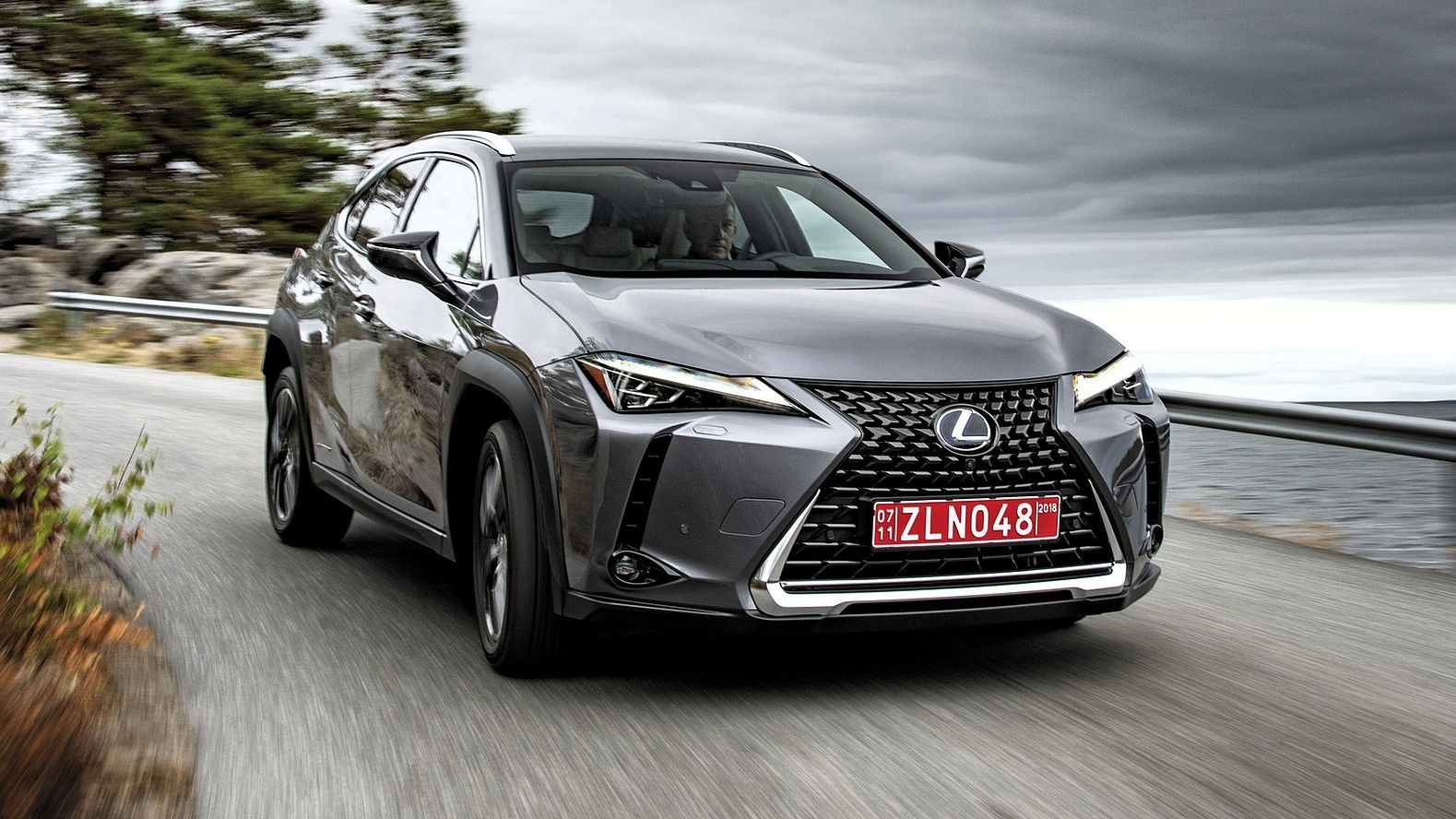2020 Lexus UX 250h front three quarters gray