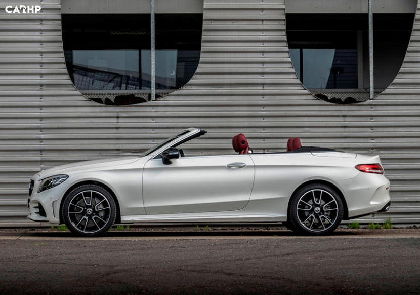 Mercedes-Benz C class convertible white side view topless