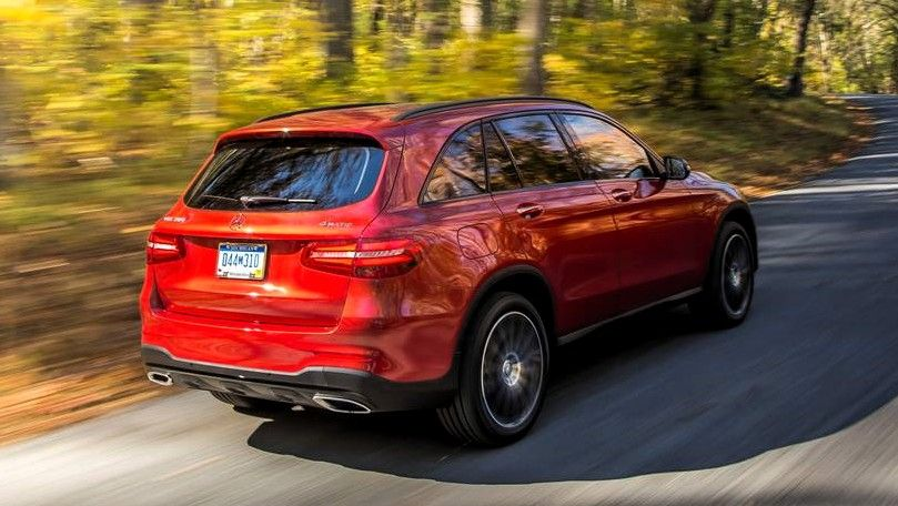 2020 mercedes benz glc class red rear three quarters