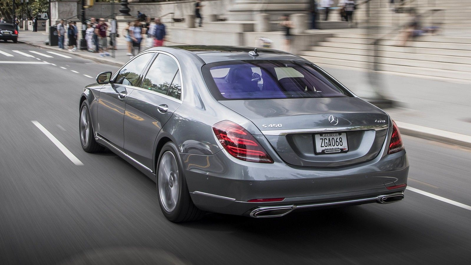 2019 mercedes benz s class silver rear three quarters