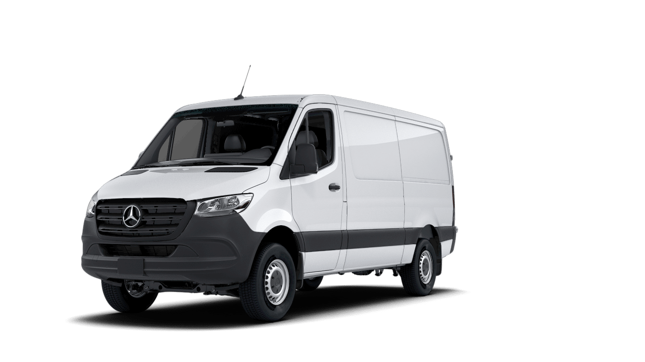 2020 Mercedes Benz Sprinter diesel cargo van front three quarters white