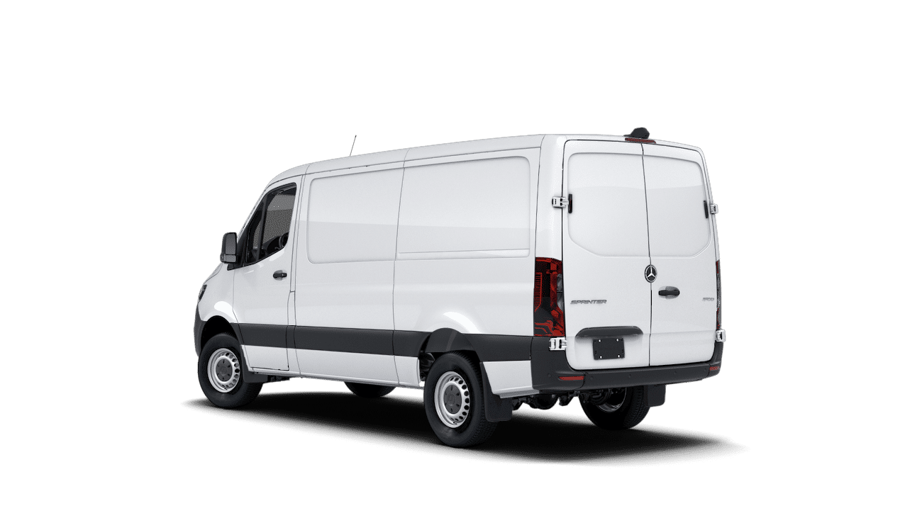 2020 Mercedes Benz Sprinter diesel cargo van rear three quarters white