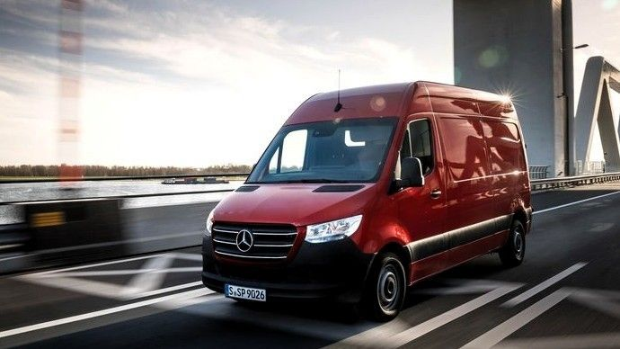 2019 Mercedes Benz Sprinter Cargo Van front three quarters red