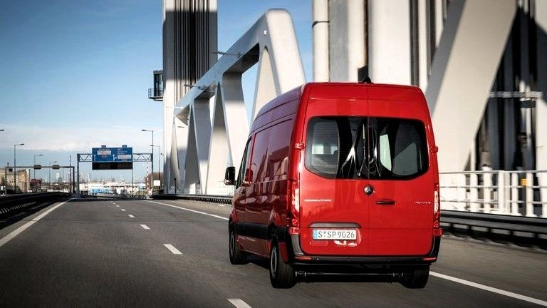 2019 Mercedes Benz Sprinter Cargo Van rear three quarters red