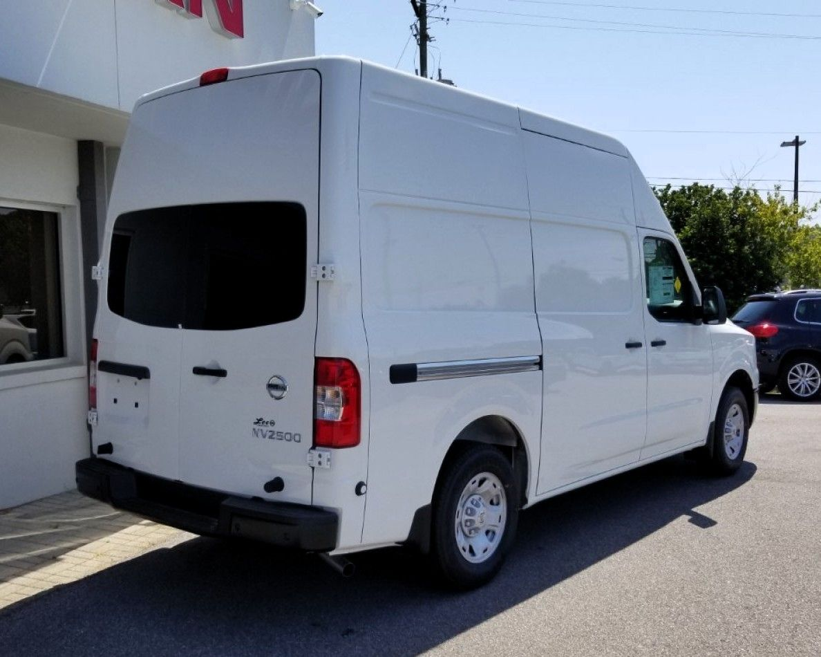 2020 Nissan NV Cargo van rear three quarters white