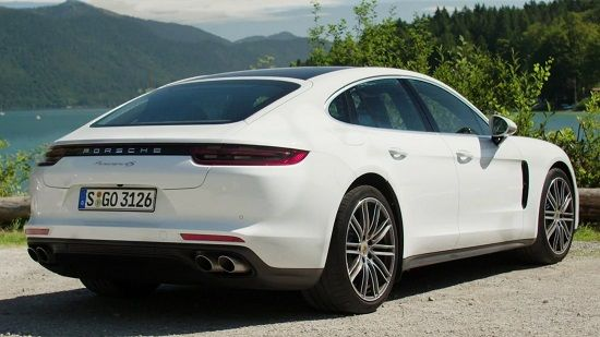 2020 Porsche Panamera E-Hybrid Rear Three-Quarter View
